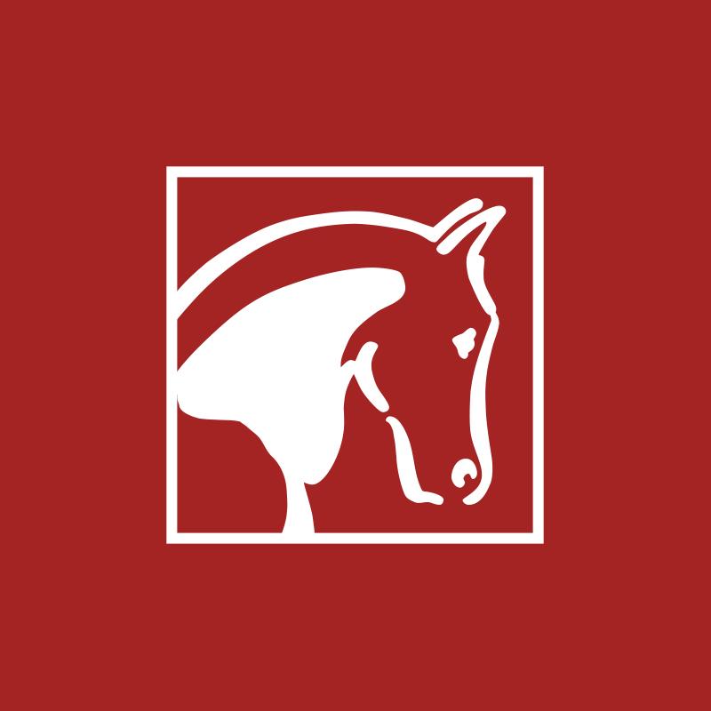 Peer-Span-Pferd aus Logo in Weiß auf rotem Untergrund